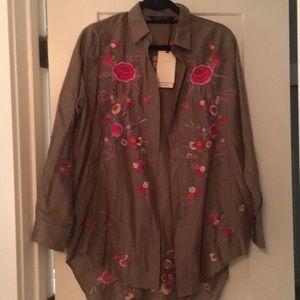 NWT Zara Embroidered Camp Tunic Shirt, sz S
